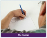 The hooker method is a way to allow left hand writer see  what he writing, this is done by bending arm and wrist to allow the left hand writer to see what he is writing, the Swanneck pen allows the writer to see what he is writing with out bending the arm or wrist.