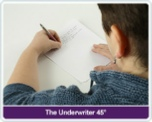 The underwriter method is a way to allow left hand writer see  what s/he writing, this is done by bending arm and wrist to allow the left hand writer to see what he is writing, the Swanneck pen allows the writer to see what he is writing with out bending the arm or wrist.